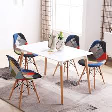 Modern Style Dining Chairs Set Of 4 Mid Century Modern Style Patchwork Upholstered Dining