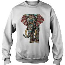 ornate elephant color version shirt hoodie tank top and v neck