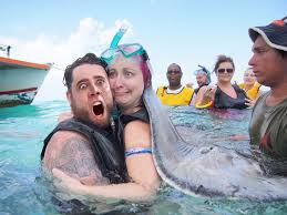 Stingray Meme - the internet photoshopped this honeymoon vacation photo and the