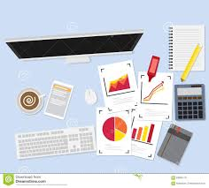 Work Desk Work Desk With Graph Paper And Office Supplies Stock Vector