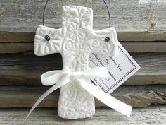 baptism ornament favors imprinted salt dough cross ornament wedding or baptism favor