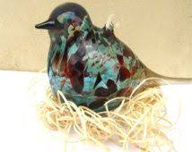 colorful clear blown glass bird figurine by