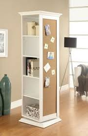 rotating storage cabinet with mirror white finish wood rotating storage cabinet with large cork board and