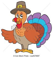 thanksgiving turkey with hat vector illustration vectors
