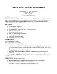 financial analyst resume exle resume for skills financial analyst sle resumes