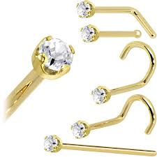 nose rings gold images 14kt gold and platinum nose rings bodycandy jpg