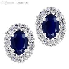 clip on earrings accessorize wholesale 1 46 ct oval blue sapphire sterling silver stud