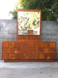 mid century brutalist cubist triple dresser credenza with mirror