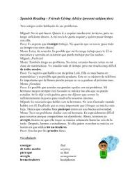 giving friends advice reading and worksheet mandatos lectura tú