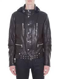 black leather biker jacket balmain concealed hood leather biker jacket in black for men lyst
