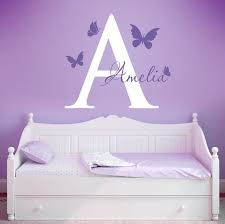 Purple Wall Decals For Nursery Inital And Butterflies Wall Decals Butterfly Nursery Wall Decals