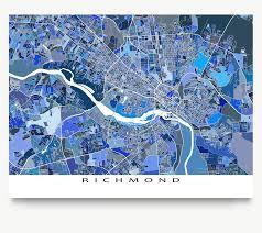 Virginia Usa Map by Richmond Map Print Virginia Usa U2013 Maps As Art
