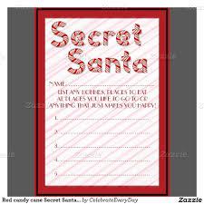 red candy cane secret santa customizable ballots paper invitation