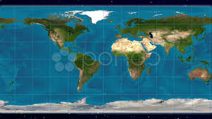 World Cloud Map by Geographic Equirectangular World Map Projection Blue Marble