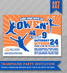 Invitation Card 7th Birthday Boy Jump Party Invitations Image Of Trampoline Themed Invitation