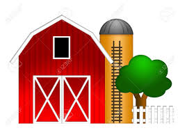Red Barn Custom Wheels Red Barn With Grain Elevator Silo And Tree Illustration Isolated