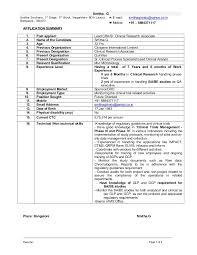 Clinical Research Associate Job Description Resume by Resume Smitha Giriraju