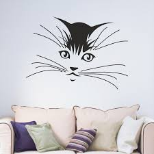 wall decals stickers home decor home furniture diy kitten cat whiskers wall art sticker decal childrens bedroom living room teen