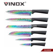 titanium kitchen knives colorful rainbow kitchen knife with titanium coating plastic