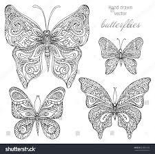 vector set black white ornamental butterflies stock vector