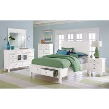 Charleston Bay White II Bedroom Queen Storage Bed American - Charleston bedroom furniture