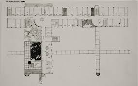 ivan leonidov photograph of a site plan for a government office