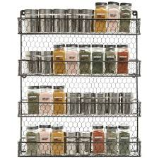 Wall Mount Spice Racks For Kitchen 4 Tier Black Country Rustic Chicken Wire Pantry Cabinet Or Wall