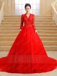 v neck long sleeves lace zipper up court train red wedding dress