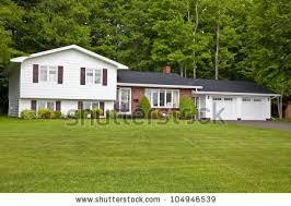 split level home america seventies era wooden split stock photo 104946539