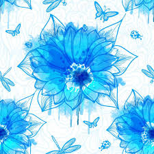 wallpaper of flowers with blue watercolor elements u2014 stock vector