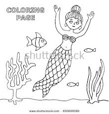 flora coloring pages vector coloring book page illustration mermaid stock vector