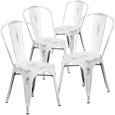 White Metal Chairs Outdoor Amazon Com Flash Furniture 4 Pk Distressed White Metal Indoor