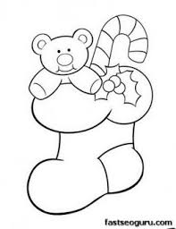 christmas stocking coloring pages christmas stocking with teddy bear and candy canes coloring pages