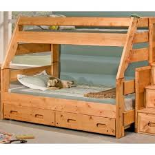 Bunk Bed With Stairs And Trundle Cinnamon Rustic Pine Twin Over Full Bunk Bed With Trundle