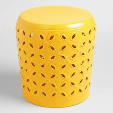 lemon yellow metal samara drum stool world market