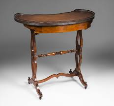 Kidney Shaped Writing Desk by Early 20th C Regency Style Kidney Shaped Writing Table From
