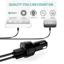 Usb Port Car Charger Aukey Cc T7 Dual Usb Port Car Charger With Quick Charge 3 0