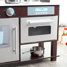 kidkraft modern espresso kitchen kidkraft espresso toddler play kitchen with metal accessory set