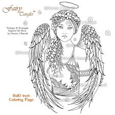 angel fairy tangles printable coloring book pages norma