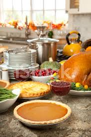 pumpkin pie turkey and fixings for thanksgiving dinner stock