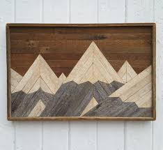 wood mountain wall items similar to reclaimed wood wall mountain range lath