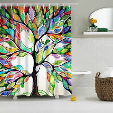 colorful tree of life print waterproof shower curtain colorful in