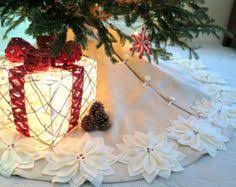 clearance 54 tree skirt in ivory felt with cut