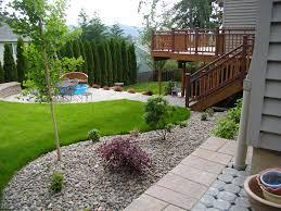 backyard pool landscape ideas garden cool white stone fireplace