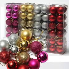new 24pcs baubles christmas tree plain glitter diy xmas party