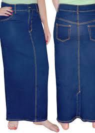 denim maxi skirt stonewashed blue denim maxi pencil skirt with back slit modli