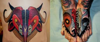 wicked tattoos of heads cut in half scene360