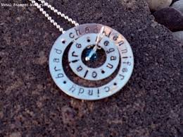 Personalized Stamped Necklace Mother U0027s Hand Stamped Necklaces U0026 Birthstone Name Jewelry Metal