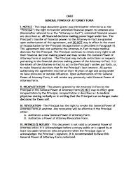 Example Of General Power Of Attorney by Ohio Minor Child Power Of Attorney Form Power Of Attorney