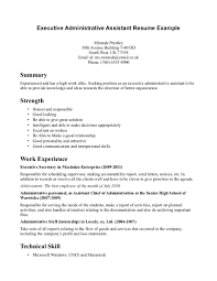 Resume Template Executive Assistant Cover Letter Resume Template Administrative Assistant Sample